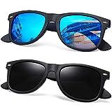 Joopin Polarized Sunglasses for Women Men, Retro Designer Sun Glasses (Matte Black+Blue)