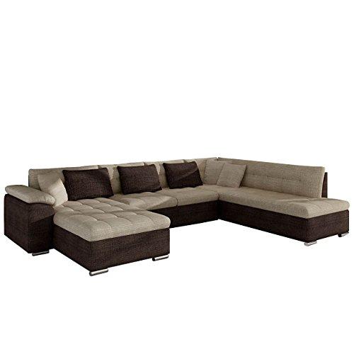 Mirjan24 Eckcouch Ecksofa Niko Bis! Design Sofa Couch! mit Schlaffunktion und Bettkasten! U-Sofa Große Farbauswahl! Wohnlandschaft vom Hersteller (Ecksofa Links, Cairo 35 + Cairo 22)