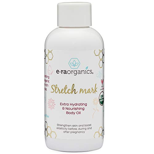 Organic Stretch Mark & Scar Treatment USDA Certified Organic Nourishing Body Oil to Reduce, Remove & Prevent Pregnancy Stretch Marks For New Moms. Perfect Moisturizer For Dry Skin 4oz Era-Organics