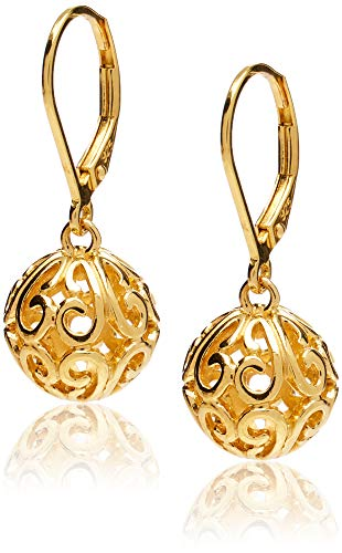 18k Yellow Gold Plated Sterling Silver Filigree Ball Leverback Dangle Earrings