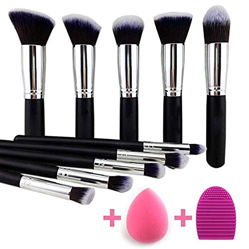 KYLIE Premium Synthetic Kabuki Foundation Face Powder Blush Eyeshadow Brush Makeup Brush Kit with Blender Sponge and Brush Cleaner - Makeup Brushes Set (10pcs, Black/Silver)