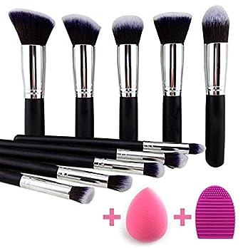 Eyeshadow Brush Makeup Brush Kit with Blender Sponge (Black/Silver)