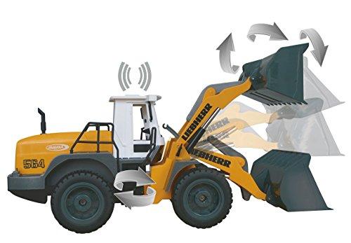 RC Auto kaufen Baufahrzeug Bild 4: Jamara 405007 - Radlader Liebherr 564 1:20 2,4G - Schaufel heben / senken / abkippen, realistischer Motorsound (abschaltbar), programmierbare Funktionen, Blinker, Autoabschaltfunktion, 2 Radantrieb*