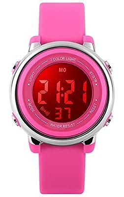 Kids Watch Sport Multi Function 50M Waterproof LED Alarm Stopwatch Digital Child Wristwatch for Boy Girl Rose Pink