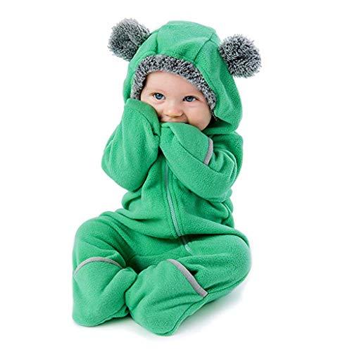 MRULIC Baby Overall Mit Kapuze Footies Winter Strampler Schneeanzüge Karikatur Jumpsuit Mädchen Jungen Kleidungsset Fleece Footed Spielanzug(D-Grün,Höhe:75-80cm)