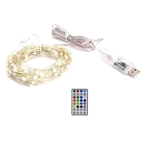 KUIDAMOS Stringa di luci RGB, Flessibile RGB 100LED USB Flessibile Impermeabile 16 Colori Che cambiano la Luce della Stringa di Filo di Rame per cucine, dormitori, Alberi di Natale