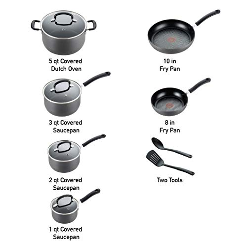 T-fal E918SC74 Ultimate Hard Anodized Durable Nonstick Expert Interior Thermo-Spot Heat Indicator Anti-Warp Base Dishwasher Safe PFOA Free Oven Safe Cookware Set, 12-Piece, Gray