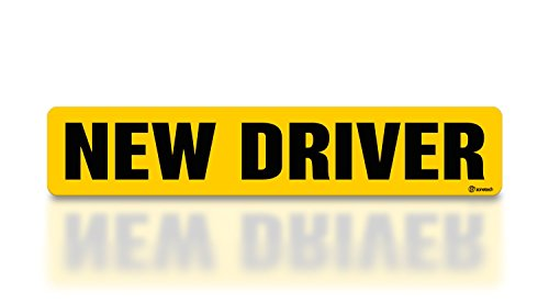 Zone Tech New Driver Effective Car Magnet Black Block Lettering on Neon Yellow Background 3 X 12-1 Pack
