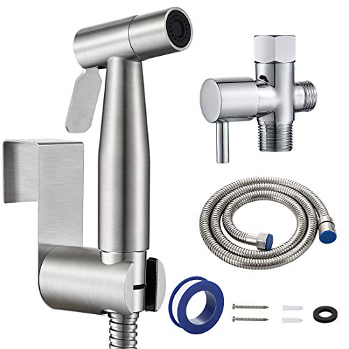 Handheld Bidet Sprayer for Toilet, Baby Diaper Washer with Adjustable Water Pressure Control, Stainless Steel Shattaf Spray Attachment with Hose for Feminine Hygiene, Pet Shower, Bathroom Clean