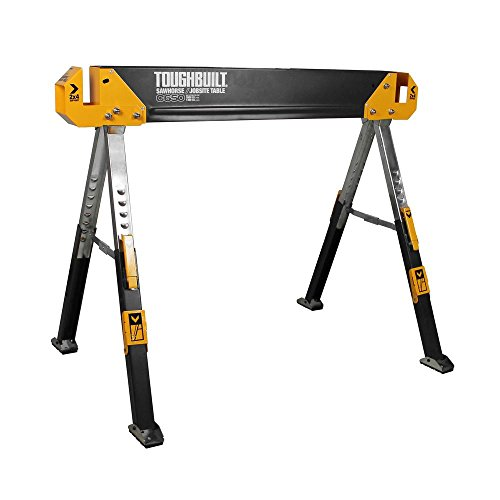 ToughBuilt - Folding Sawhorse/Jobsite Table - Sturdy, Durable, Lightweight, Heavy-Duty, 100% High Grade Steel, 1300lb Capacity, Pivoting Feet, Adjustable Height Legs, Easy Carry Handle - (TB-C650)