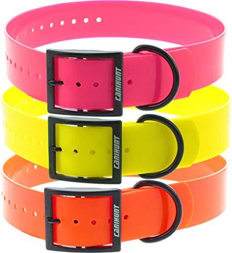 Canihunt Dog Accesorios Destockage – Pack de 3 collares Xtreme PU – Hebilla doble – Color naranja, amarillo y rosa (3,8 x 0,25 x 70 cm)
