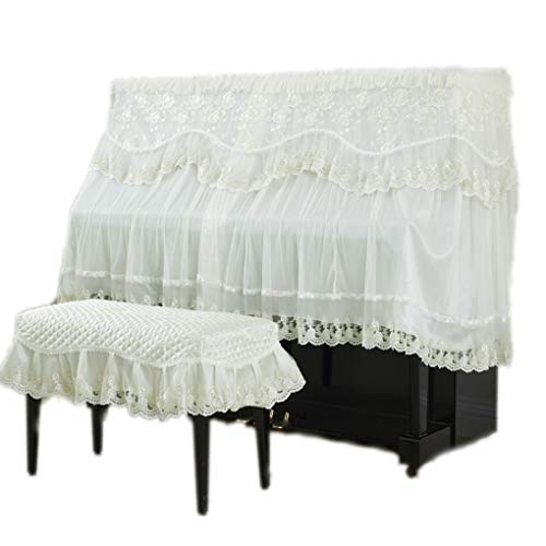 Best Prices! Piano cover Thick Fashion Atmospheric European Piano Full Cover Lace Fabric Middle Open Dust Cover Stool Cover (Color : Beige, Size : Double Bench)