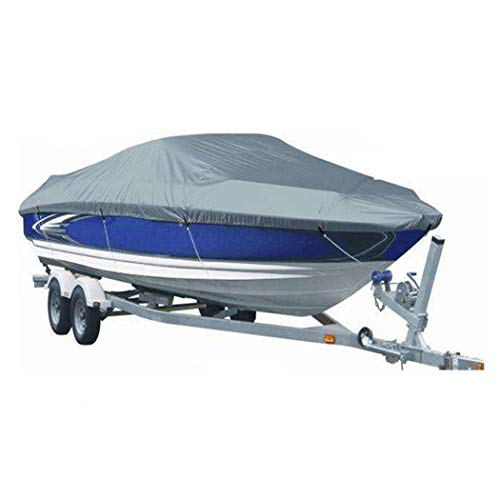 InkFenm Cubierta del Barco, 420D Heavy Duty Cubierta Impermeable Barco Runabout, Protección Al Aire Libre Adapta A V-Hull, Tri-Hull, Trailerable De Esquí Cubierta del Barco,Gris,11/13FT(420 * 270CM)