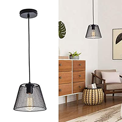 Black Pendant Light Fixtures with Unique Shade Industrial Small Chandelier 1-Light Adjustable Rustic Hanging Lamp Metal Pendant Lamp for Kitchen Island, Bedroom, Bar, Bathroom, Farmhouse