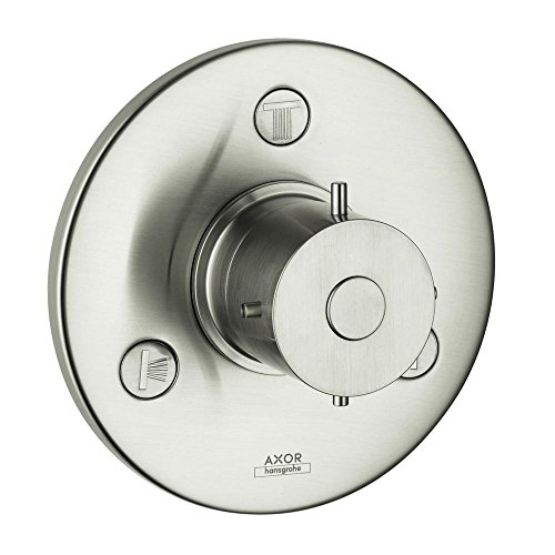 Brushed Nickel Hansgrohe 16833821 Axor Montreux Trio//Quattro Trim with Cross Handle