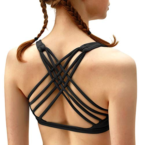QUEENIEKE Womens Yoga Sport Bra Light Support Strappy Free to Be Bra Size M Color Top Black Across
