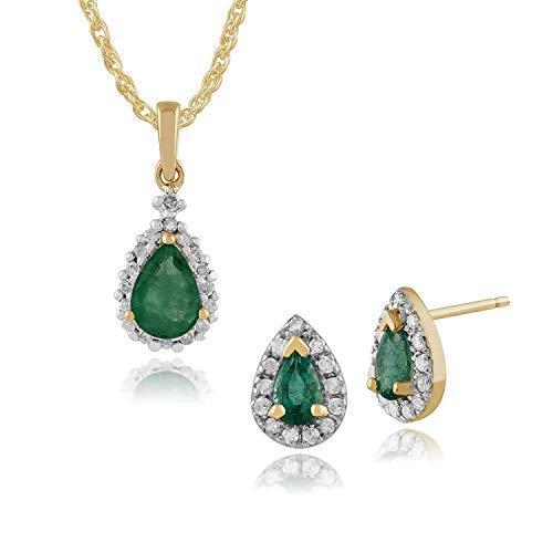 Gemondo in oro giallo 9carati smeraldo e diamanti a grappolo orecchini & 45cm collana set