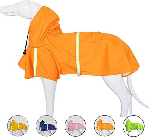 ZLZNX - Chubasquero impermeable para perro con capucha reflectante a rayas para perros pequeños, medianos y grandes, Naranja, Large