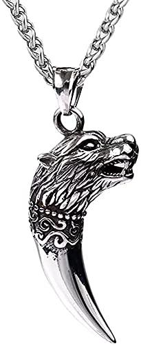 W-RNM Viking Wolf Diente Colgante Collar, Norse Hombres Acero Inoxidable Wolf Fang Amuleto, Hecho A Mano Hip Hop Vintage Fashion Choker Protección Animal Joyería Regalo de Cumpleaños (Color : Silver)