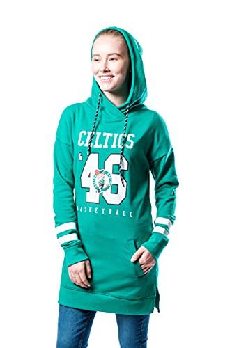 Ultra Game NBA Boston Celtics Womens Tunic Hoodie Pullover Terry Sweatshirt, Team Color, Large