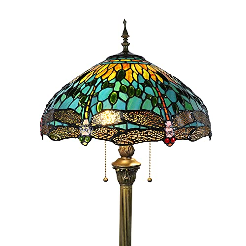 Tokira Lámpara de pie Tiffany Libélula verde para sala de estar, lámparas de lectura estándar vintage altas de 64 pulgadas, pantalla grande de vitrales de 16 pulgadas, 2 bombillas LED gratis