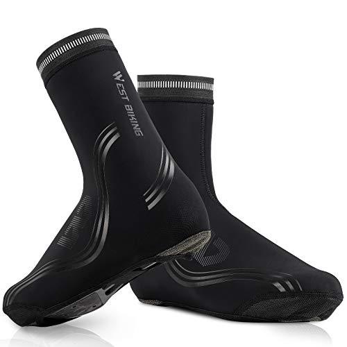 ICOCOPRO Cubrezapatos para bicicleta de invierno, térmico, para bicicleta de carreras, MTB, impermeables, resistentes al viento, protección para botas de ciclismo