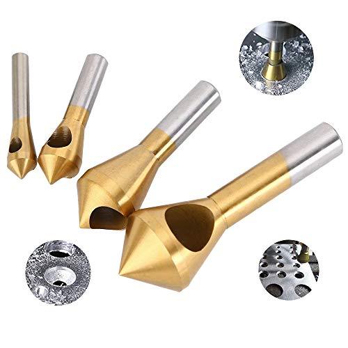 Querlochsenker, 4 Stück Kegelsenker Entgratsenker HSS Kegelsenker Set,90° Titan beschichtet Senker Entgrater Bohrer Set für Holz,Metall,Eisen,Kunststoff,Aluminium