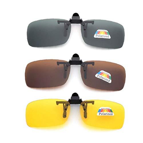 shentaotao Frame-Menos 3 Pcs Unisex Uv400 Lente Polarizada Rectángulo Lente Tirón Encima del Clip En Gafas De Sol De La Prescripción De Anteojos De Visión Nocturna Gafas De Salud Y Belleza