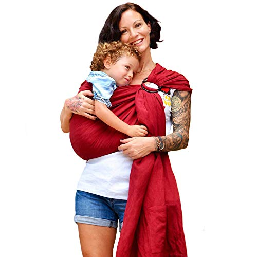 Product Image of the Nalakai Ring Sling Baby Carrier - Luxury Bamboo and Linen Baby Sling - Baby Wrap
