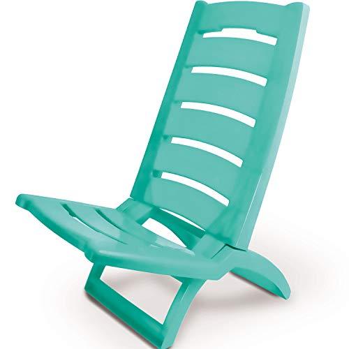 Strandstuhl klappbar - TÜRKIS - Strandliege Kunststoff belastbar bis 80kg Sitzhöhe 27cm - Klappstuhl Sonnenstuhl Gartenstuhl Sonnenliege Sonnenliegen Gartenliege Gartenliegen Campingstuhl Liegestuhl