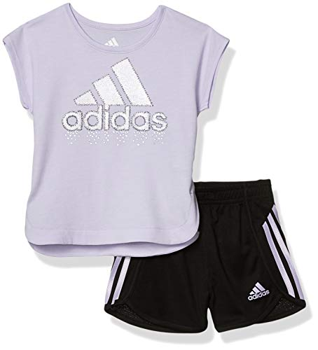 adidas Baby Girls Li'l Sport Short Sleeve Top & Shorts Clothing Set, Light Purple, 18 Months