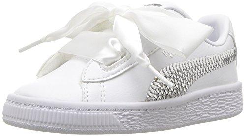 PUMA Unisex Basket Heart Bling Kids Sneaker, White Silver, 7 M US Big
