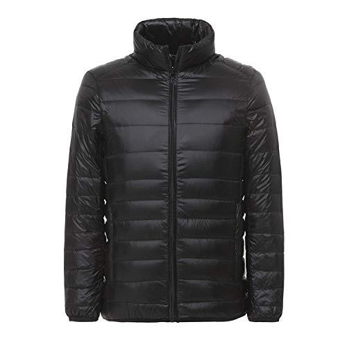 AFASSW, Packable Down Jacket Heren ultra lichte winter jas met tas, warm gewatteerde buffer mantel en plussize donsjack heren donsjas, kraag, blauw, XL