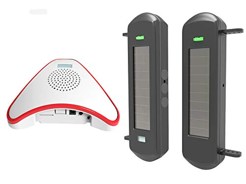 HTZSAFE Solar Wireless Driveway Alarm System- 1/2 Mile Long Transmission Range- 300 Feet Wide Sensor Range- No Wiring No Need Replace Battery- Outdoor Weatherproof DIY Security Perimeter Alert System