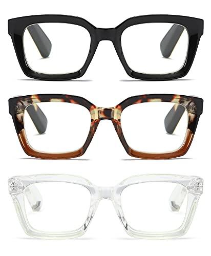 3 Pack Oversize Square Design Reading Glasses for Women, Blue Light Blocking Reader