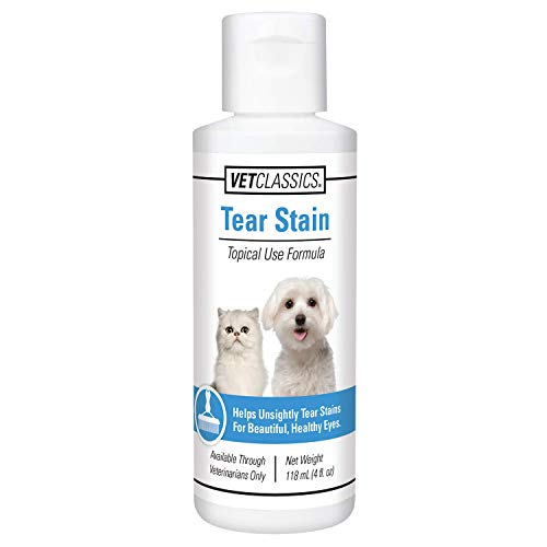Vet Classics Tear Stain Liquid for Dogs & Cats  Water-Based  Helps Eliminate Tear Stains from Eyes & Prevents New Stains with Cranberry  Lutein  Eyebright  Oregon Grape Root  4 OZ