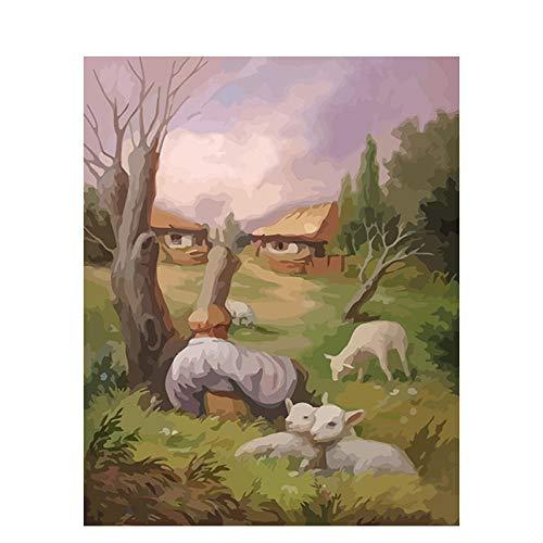 ACVMF DIY malen nach Zahlen Erwachsene Versteckte Person Kinder malen Digitale handgemalte Wandmalerei Leinwand Malerei Wohnzimmer Dekoration Malerei 40X50CM Rahmenlos