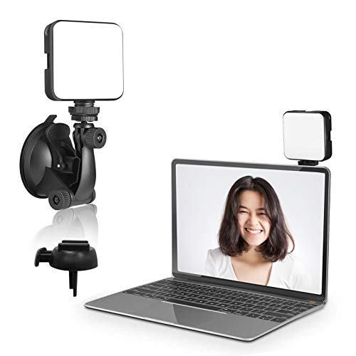 Luz para videoconferencias, videoconferencias, luz ajustable brillo y temperatura con ventosa y trípode soporte para videoconferencias con zoom, llamadas, transmisión en directo