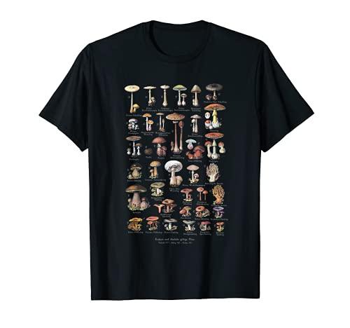 ヴィンテージキノコドイツ語の名前キノコ狩り Tシャツ