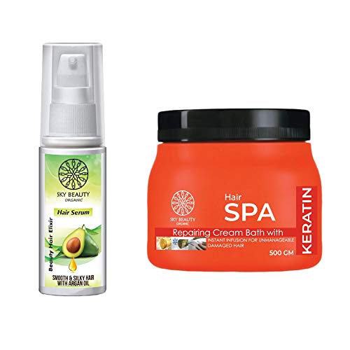 SKY BEAUTY ORGANIC NOURISHING BATH CREAM FOR DRY|FRIZZY AND DAMAGED HAIR|TAKE YOUR SPA TREATMENT AT HOME WITH EXTRA KERATIN & MOISTURIZING FORMULA SPECIALLY DESIGNED FOR HAIR-SMOOTHENING -500 GM.