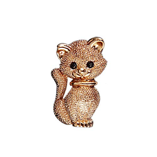 Carl Hamilton New Gold Cat Brooches and Pins for Women Animal Brooch Pins Lovely Cat Kitten Breastpin Clothes Jewelry Collar Accessories-Gold-