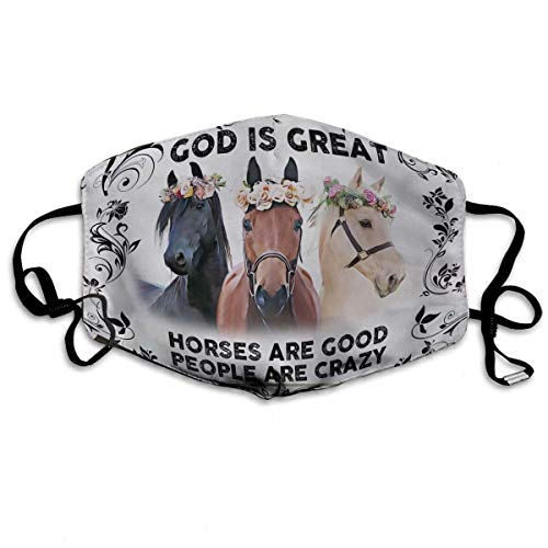 God is Great Horses are Good People are Crazy Face mask, Washable Cotton Face Mask, Reusable Cloth Masks, Neck Gaiter Nose Cover for Adult Kids