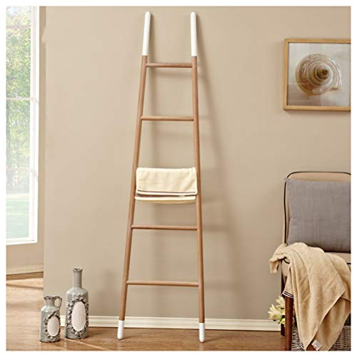 NIUZIMU Houten Kleur Stand Coat Rack Nordic Effen Hout Coat Stand Handdoek Badkamer Ladder Rack Badkamer Plank Thuis Coat Racks -0223