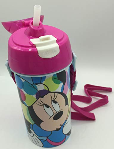 ML Botella de Agua Infantil, cantimplora Botella de Agua de plastico con Pajita para ninos y ninas, cantimplora a Prueba de Fugas de Minnie para Levar a la Escuela y Deportes el Termo 500ML