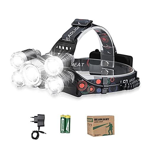 Lavcus Linterna frontal LED superbrillante, 12000 lúmenes, 5 ledes, 4 modos, incluye cable USB con batería 18650, ideal para rescatar, camping, pesca, escalada, senderismo
