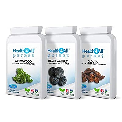 Wormwood, Black Walnut, Cloves Digestive Health Set 3x90 Capsules. Vegan. Made by Health4All