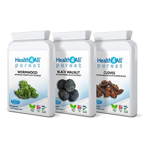 Wormwood, Black Walnut, Cloves Digestive Health Set 3x90 Capsules. Vegan. Purest - no additives. Made by Health4All