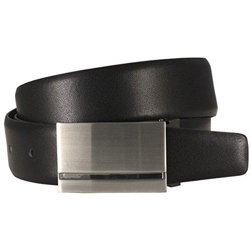 Lindenmann Mens Leather Belt/Mens Belt,leather belt curved plate buckle, black, Größe/Size:85, Farbe/Color:noir