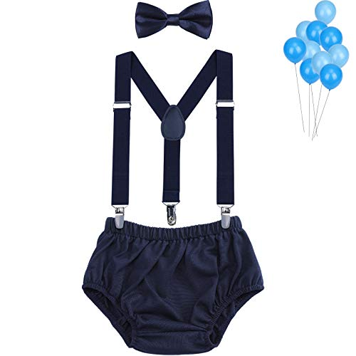 Baby Boys Cake Smash Outfit - Fishing Party Diaper Cover, Suspenders & Bow Tie Girls Bloomers for First Birthday by WELROG (Navy blue)