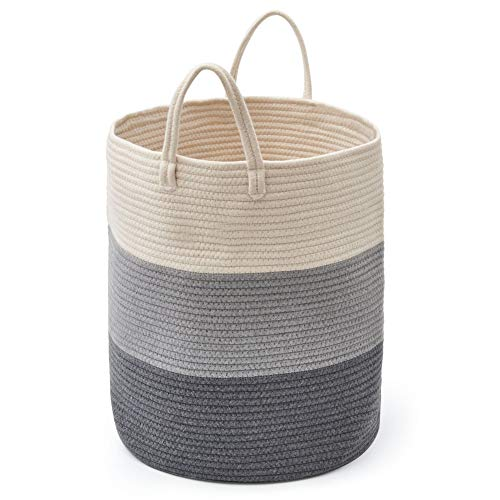 EZOWare 52L Large Cotton Rope Basket Hamper, Tall Decorative Soft Woven Storage Bin with Handles for Nursery Laundry Toys Clothes Throw Pillows Blankets - Gradient Gray, 38 x 46 cm